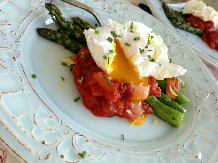 Poached Eggs with Roasted Asparagus and Homemade Tomato Sauce
