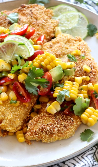 Cornmeal Crusted Tilapia with Grilled Corn, Avocado and Tomato Salsa