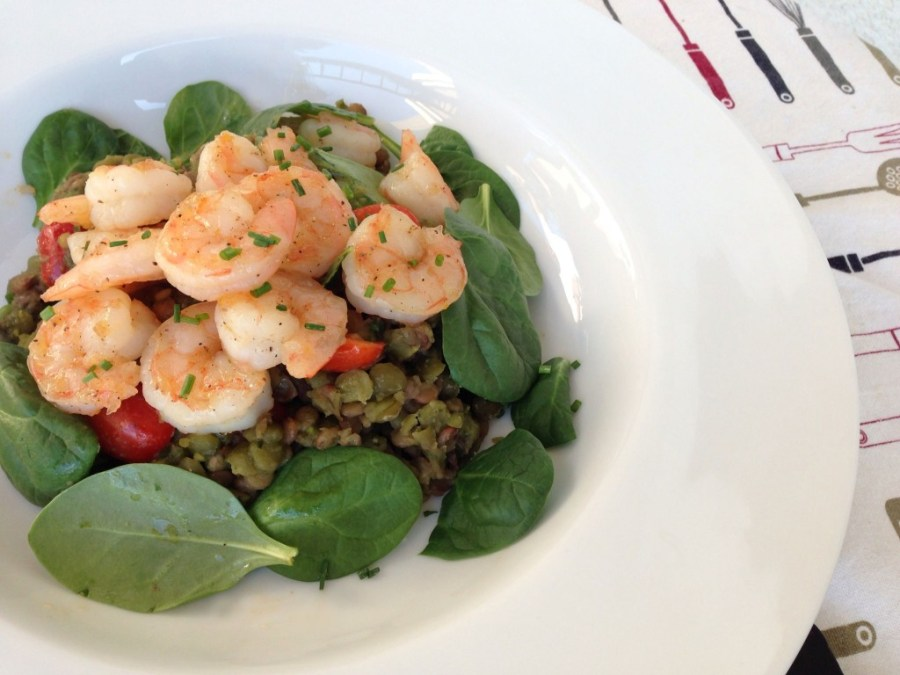 Pesto Lentil Salad with Honey Lemon Shrimp