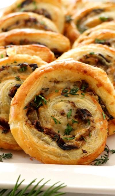 French Onion and Portobello Mushroom Pinwheels