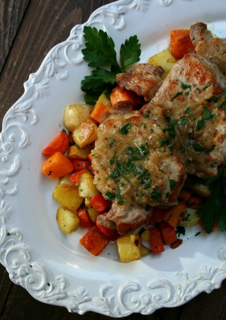 Pork Chops with Sweet Onion Mustard Sauce