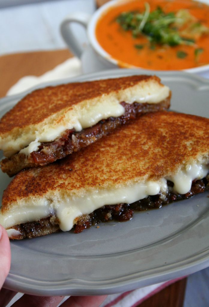 Roasted Tomato Soup with Maple Bacon Bourbon Jam Grilled Cheese