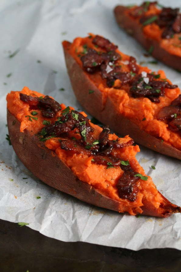 Twice Baked Sweet Potatoes with Candied Bacon