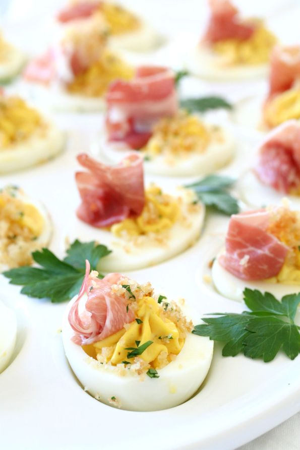 Prosciutto Topped Deviled Eggs