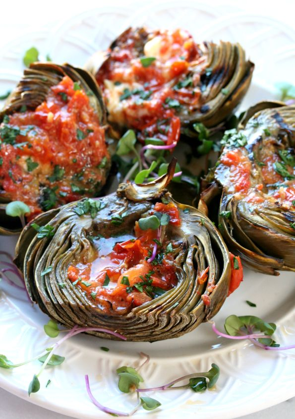 Grilled Artichokes with Roasted Tomato Butter