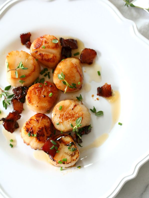 Maple Bacon Butter Seared Scallops