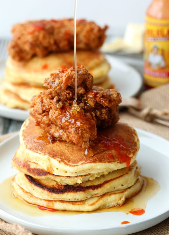 Buttermilk Fried Chicken and Cornmeal Pancakes