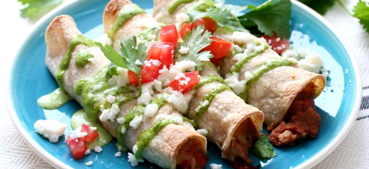 Baked Meatless Flautas with Cilantro Crema