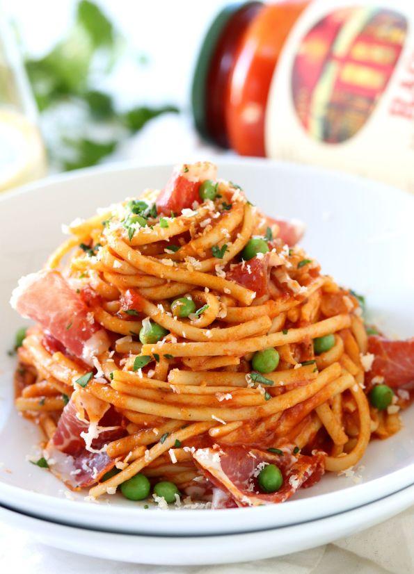 Linguine Marinara with Peas and Dry Coppa