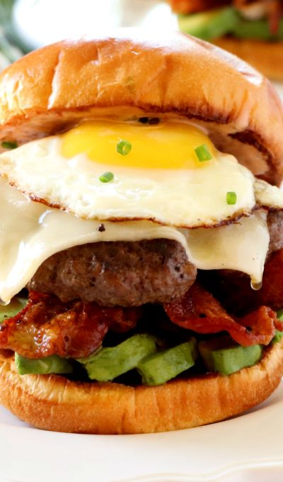 Brunch Burger with Avocado, Bacon, and a Fried Egg
