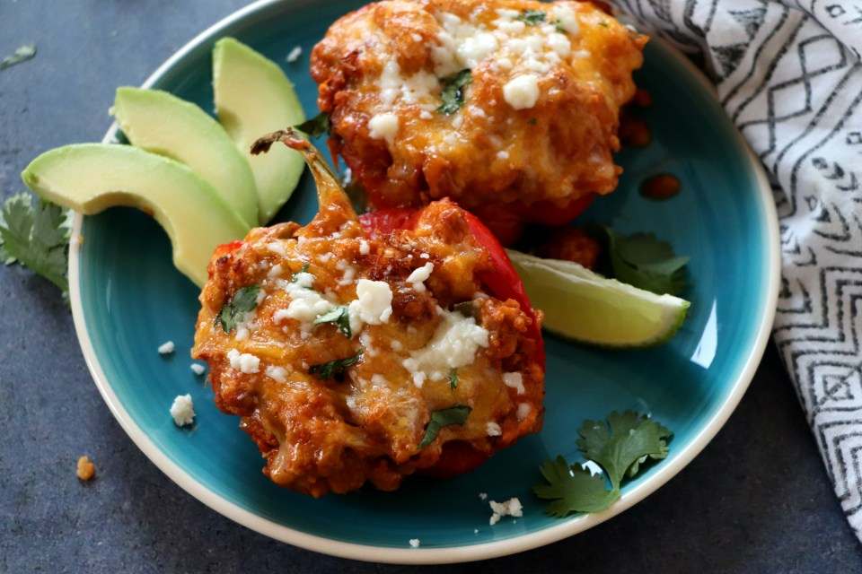 Turkey Enchilada Stuffed Bell Peppers