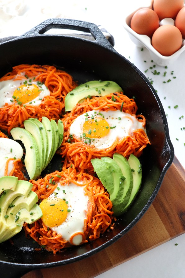 Spiralized Sweet Potato Egg Nests
