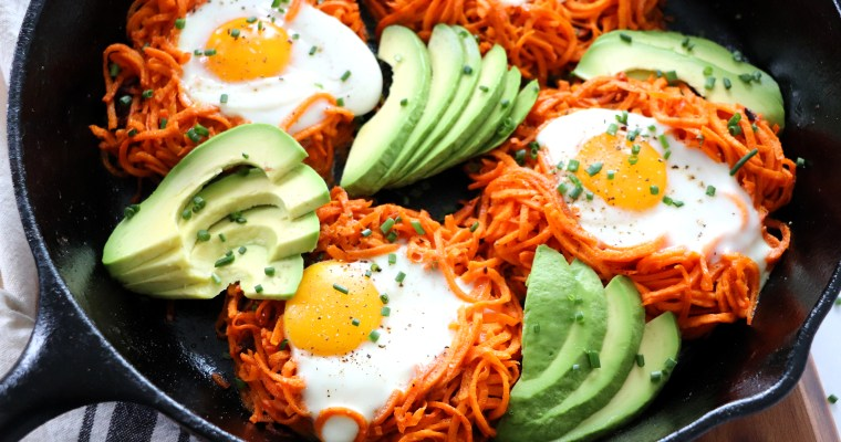 Spiralized Sweet Potato Egg Nests