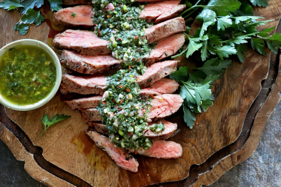 Sous Vide Flank Steak with Chimichurri Sauce