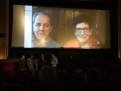 The first internal screening - with Ann and François Mottier on the big screen!