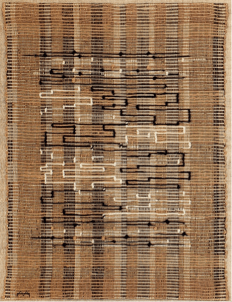Anni Albers, Black-White-Gold I, 1950, Baumwolle, Jute und Metallband, 63.5 x 48.3 cm, The Josef and Anni Albers Foundation, Bethany, CT.