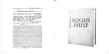 Hanne Darboven, Textes de Charles Baudelaire, 1975 (links), Timm Ulrichs, Concrete Poetry, 1972 (rechts), S 14-15, in: Bücher über Bücher (Neues Museum Weserburg, 13. Dezember 1992 - 14. März 1993)