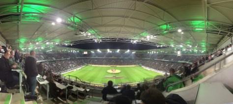 Das Stadion von Borussia Mönchengladbach beim Europa League Spiel gegen Fenerbahce Istanbul. Foto: David Nienhaus