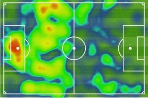 Die Heatmap der ersten Halbzeit bei der Partie zwischen Borussia Mönchengladbach und Borussia Dormtund zeigt die Überlegenheit des BVB