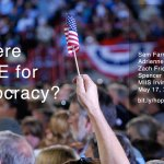 Photo of a hand in a crowd, holding a small U.S. flag. Title: Is There Hope for Democracy?