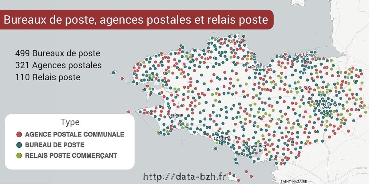 Bureaux de poste, agences postales et relais poste de Bretagne