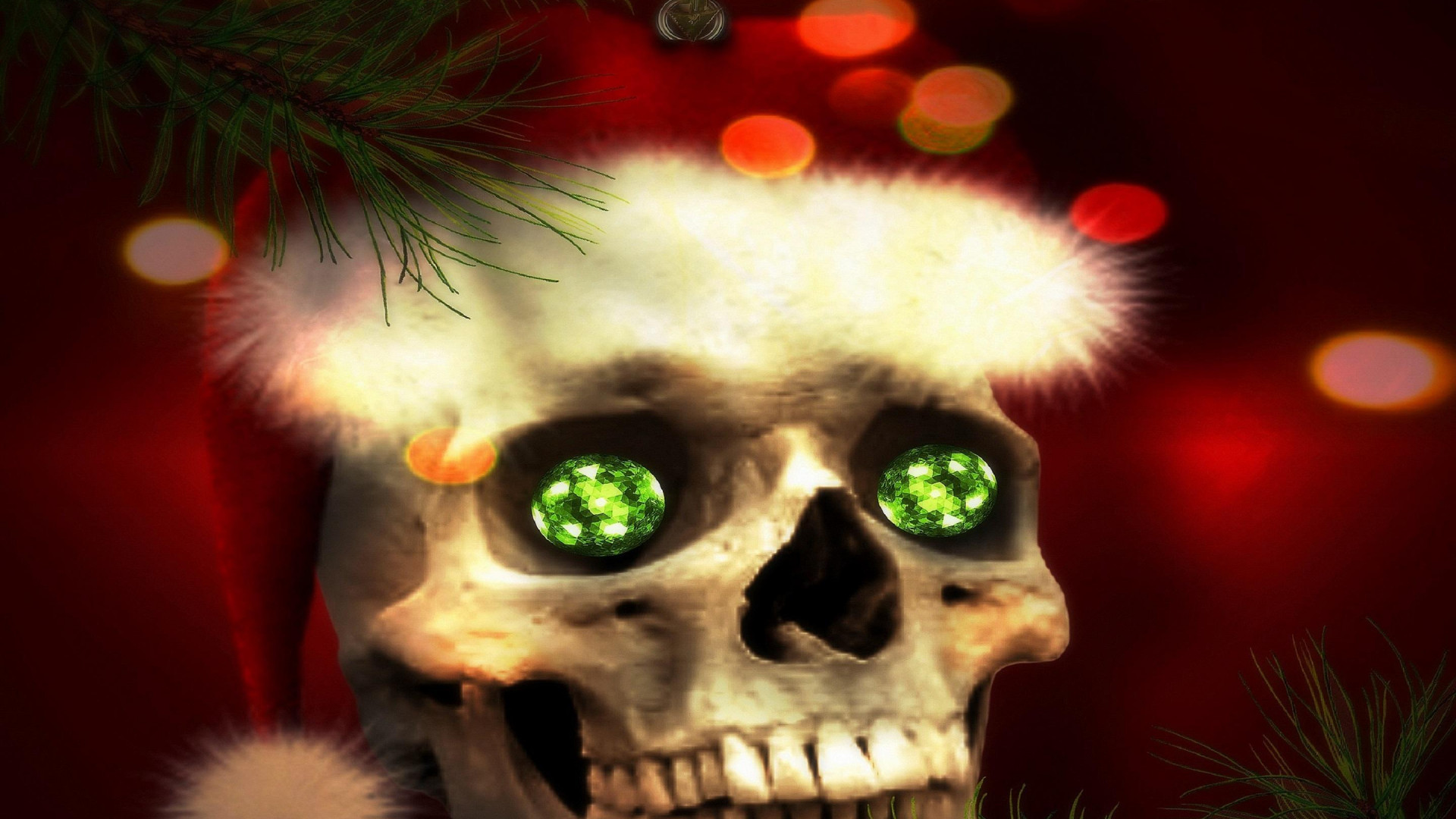 Santa Skull In Christmas HD Desktop Wallpaper