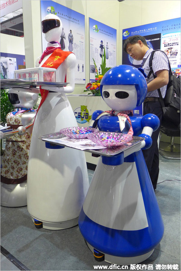 Robots on display at the China International Robot Show in Shanghai, July 8-11, 2015.