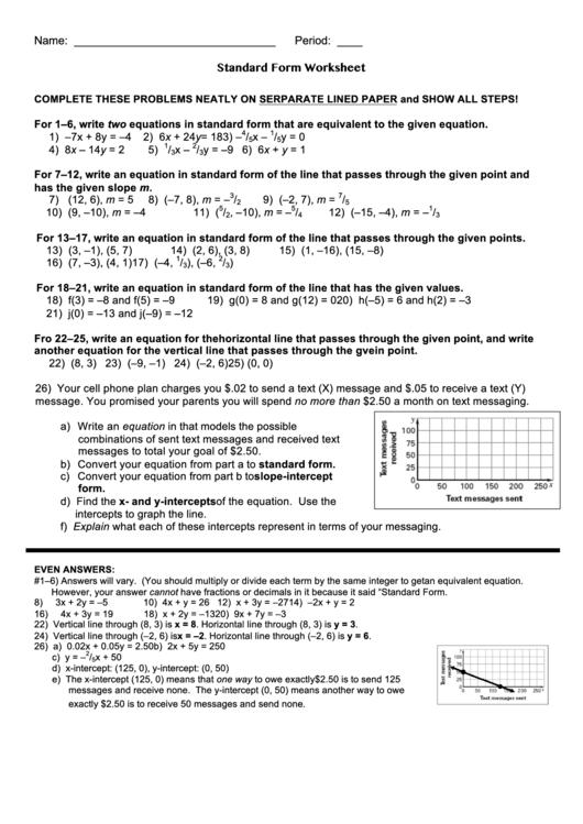 Standard Form Worksheet Printable Download