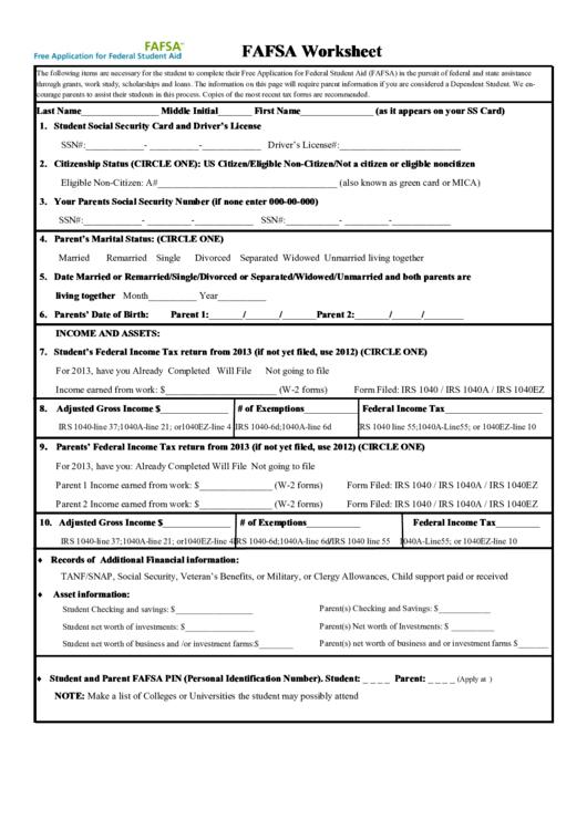 Form Printable Application Fafsa