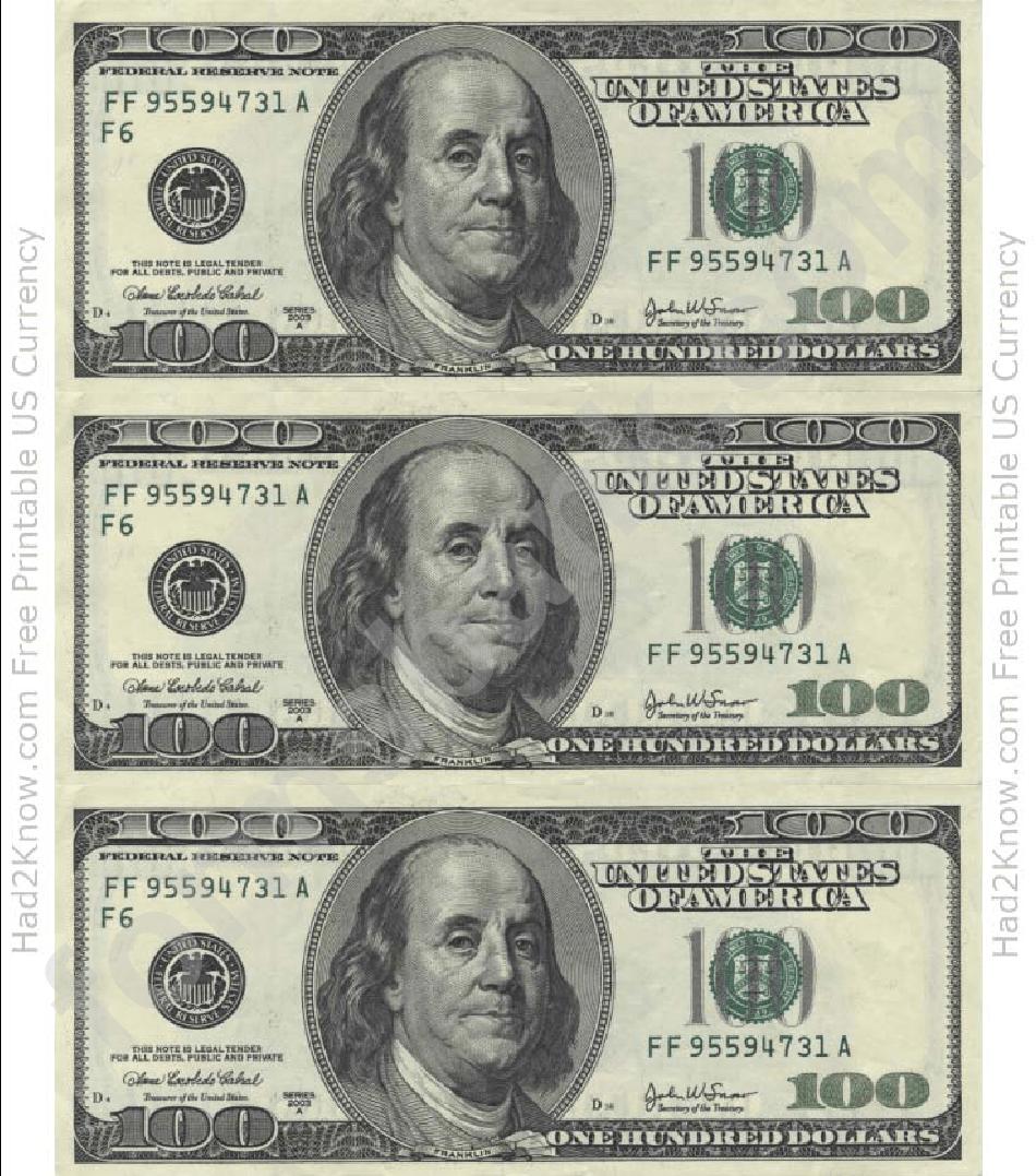 Free Print Play Money Template