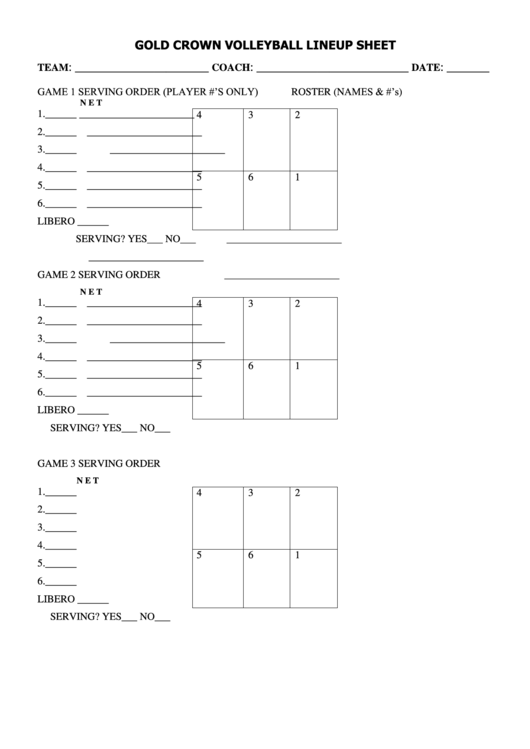 Gold Crown Volleyball Lineup Sheet Printable Pdf Download