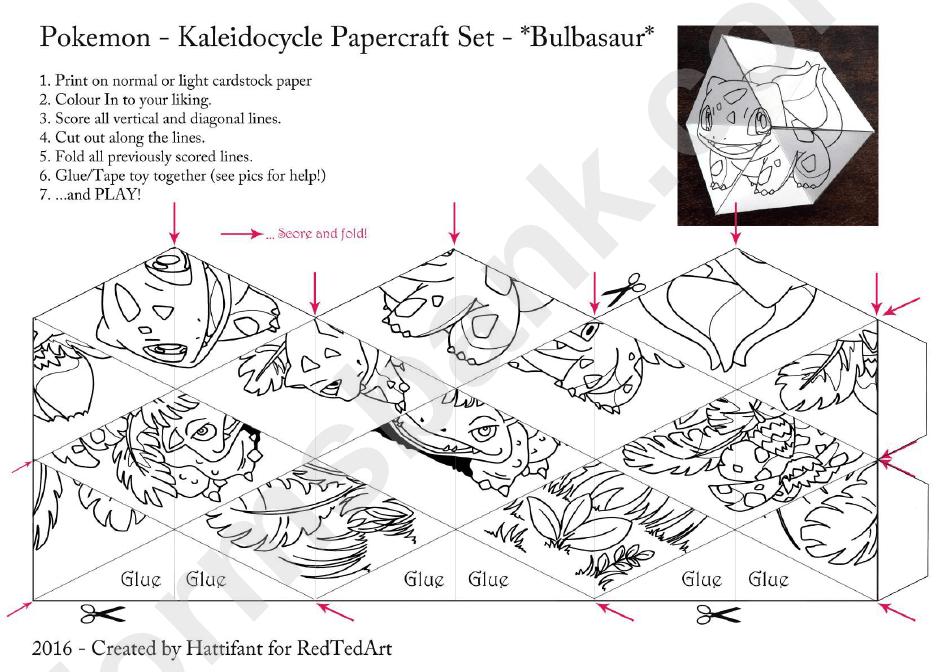 Pokemon Kaleidocycle Papercraft Set