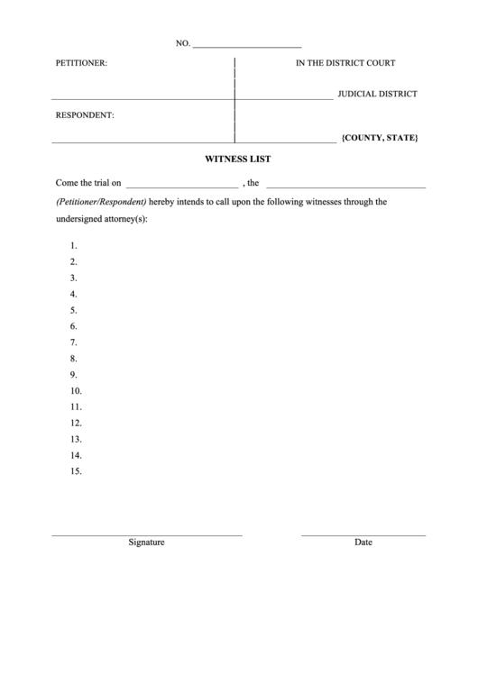 Court Witness List Form Printable Pdf Download