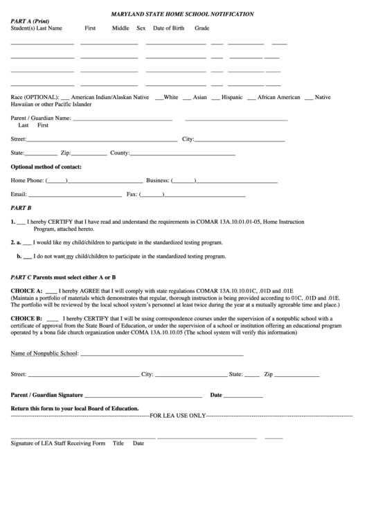 Maryland State Home School Notification Form Printable Pdf Download