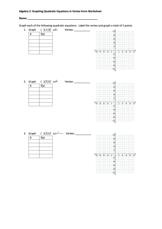 Algebra 2 Graphing Quadratic Equations In Vertex Form