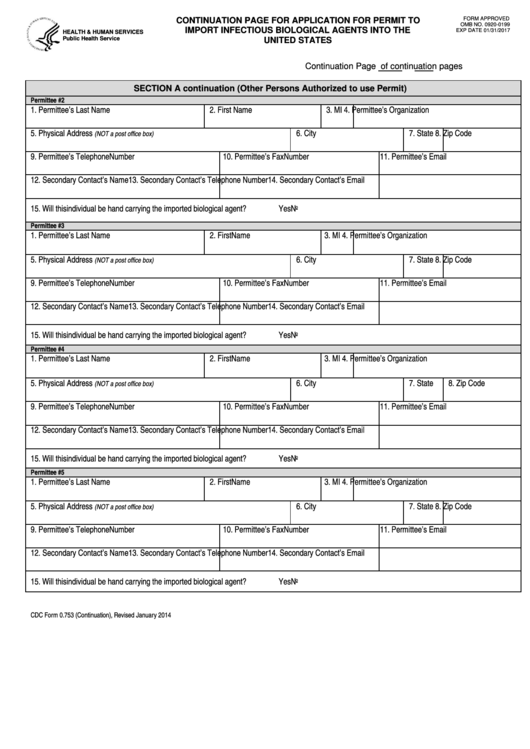Fillable Cdc Form 0.753 - Continuation Page For ...
