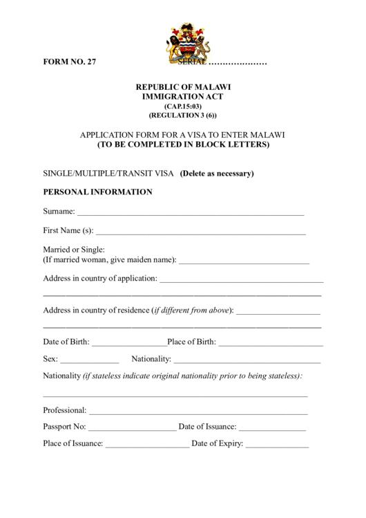 Fillable Application Form For A Visa To Enter Malawi Printable Pdf Download