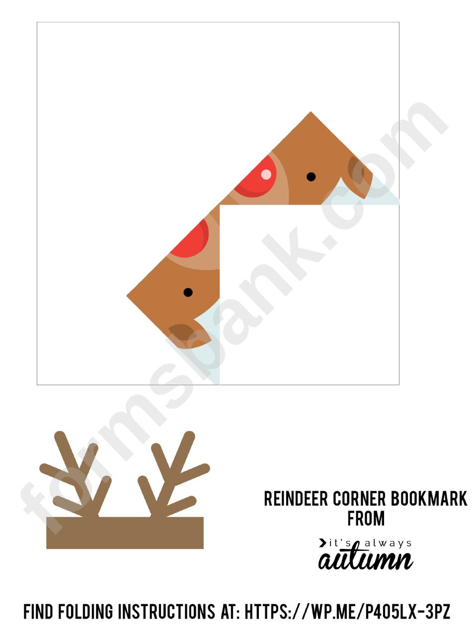 Corner Bookmark Template Reindeer Origami Printable Pdf Download