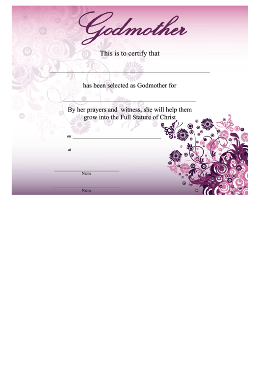 Godmother Certificate Template Pink Printable Pdf Download