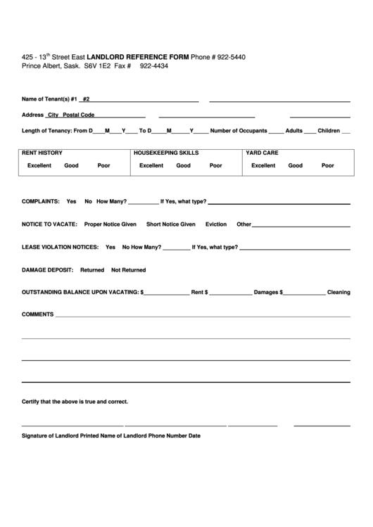 Landlord Reference Sheet