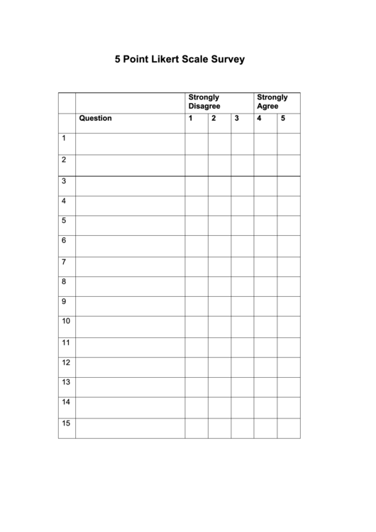 Printable 5 Point Scale