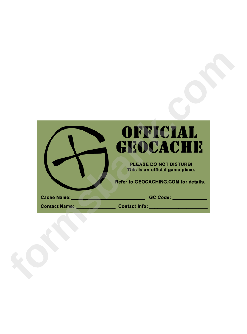 Label Templates Official Geocache Printable Pdf Download