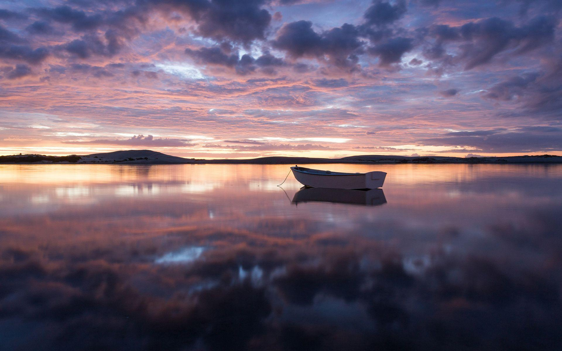 HD Boat In The Purple Sunset Wallpaper Download Free