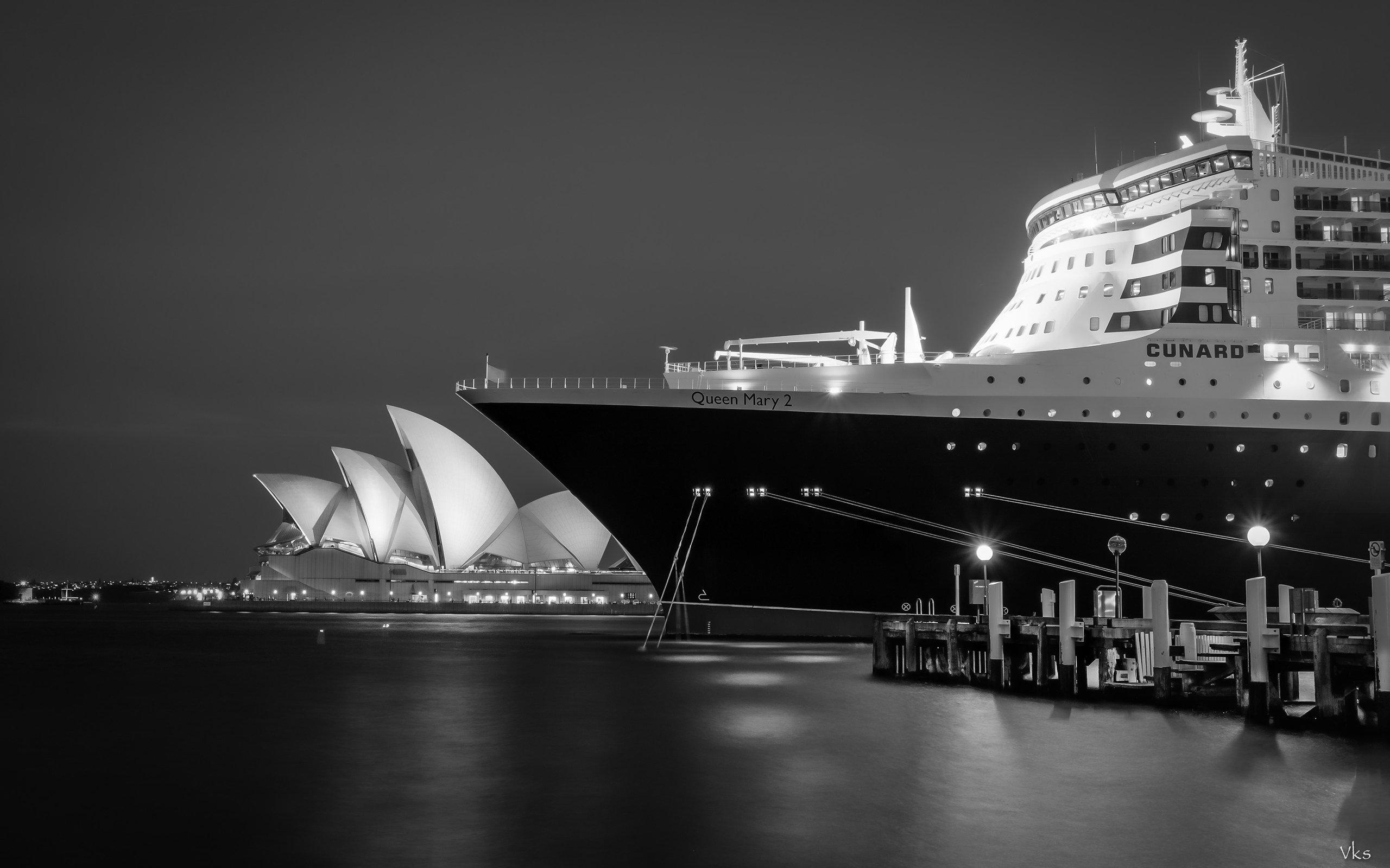 HD Sydney Opera House Night Bw Ship Cruise Background