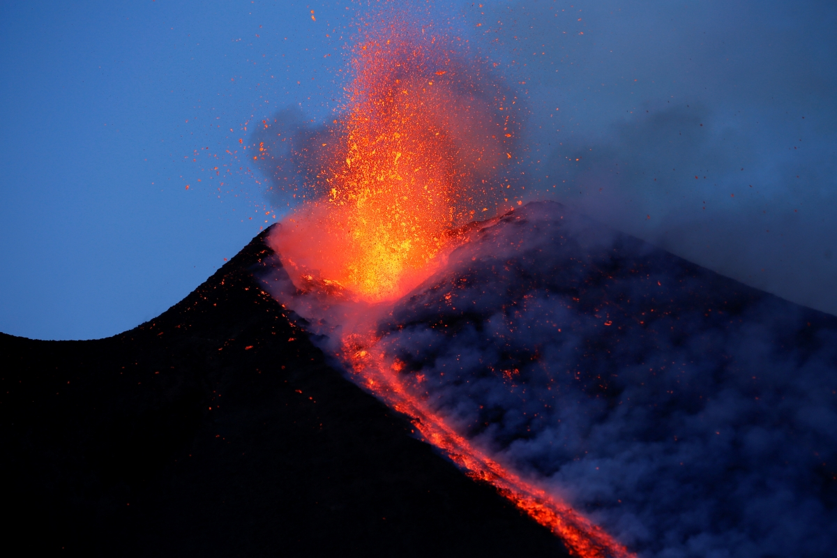 Mount Etna Erupts Tourists Enjoy Fiery Display Of Lava