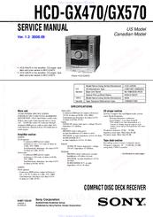 Sony HCDGX570  Cd Deck Receiver Component Manuals