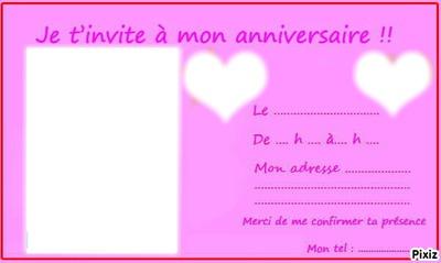 carte d invitation anniversaire ado