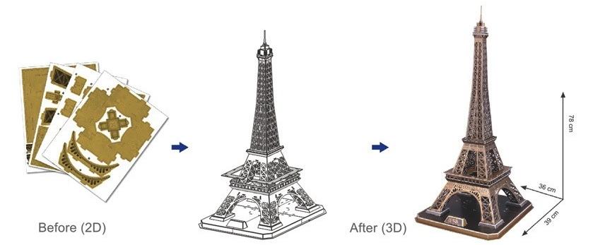 Tower Fun Puzzle Cubic Eiffel 3d