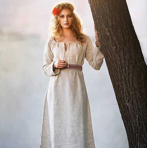 Ľanové šaty Živa (XS) / Pohan - SAShE.sk - Handmade Šaty