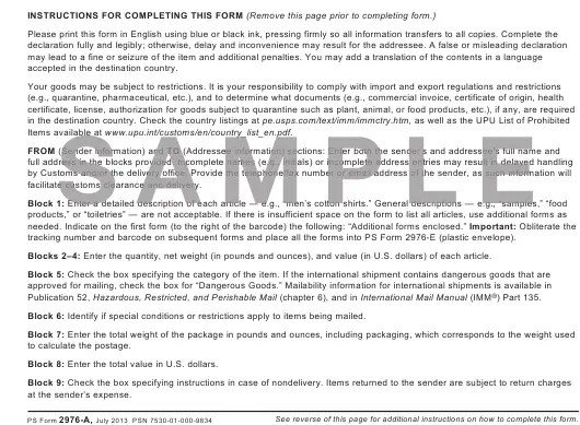 Ps Form 2976 A Download Printable Pdf Or Fill Online Customs